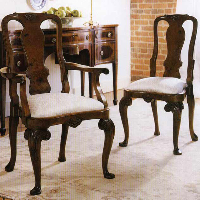 Walnut Queen Anne Arm Chair