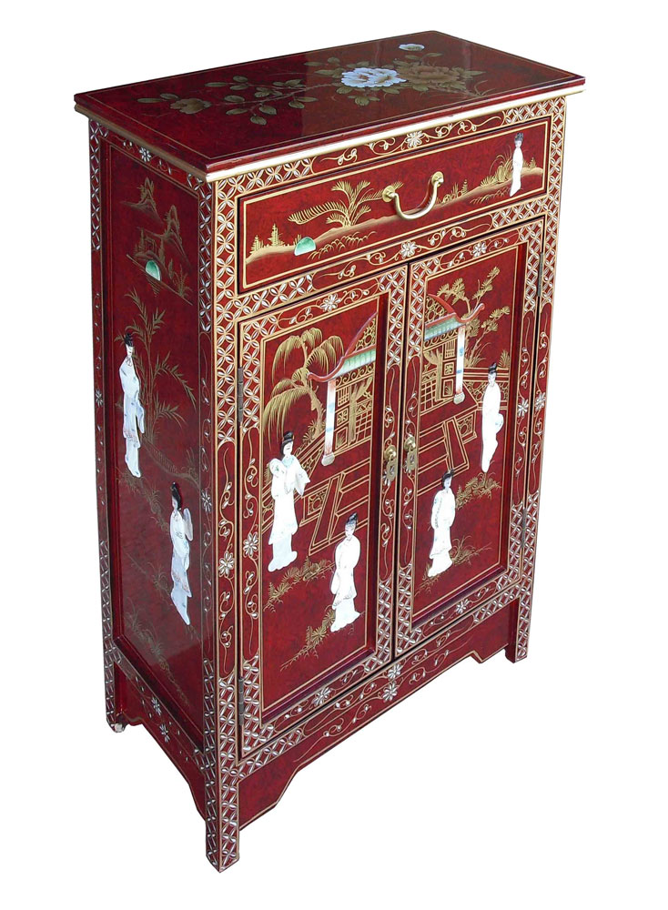 Chinese red lacquer cabinet for Asian furniture uk