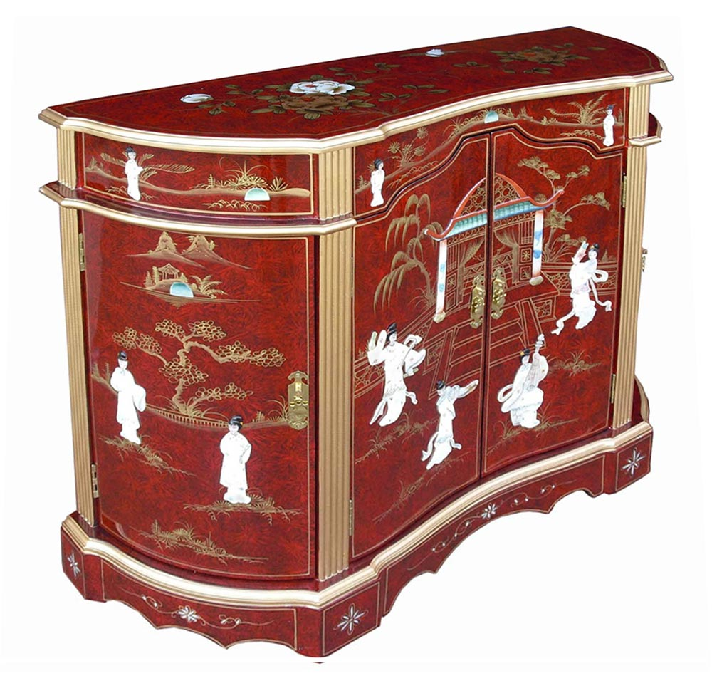 Chinese red lacquer sideboard for Oriental furniture