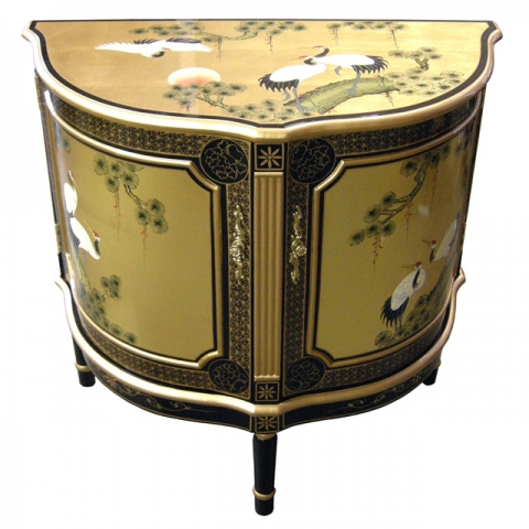 Chinese Gold Half Moon Cabinet