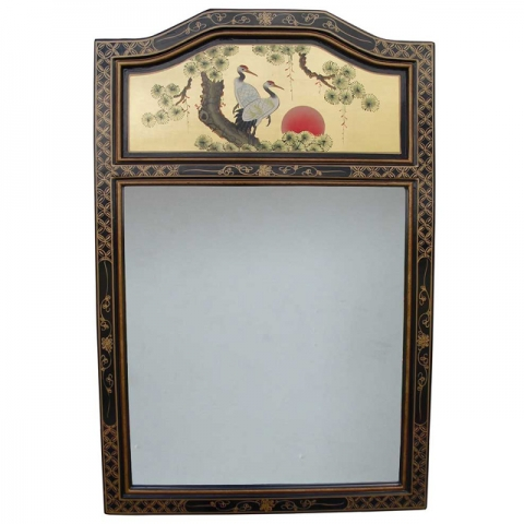 Chinese Gold Lacquer Mirror Portrait