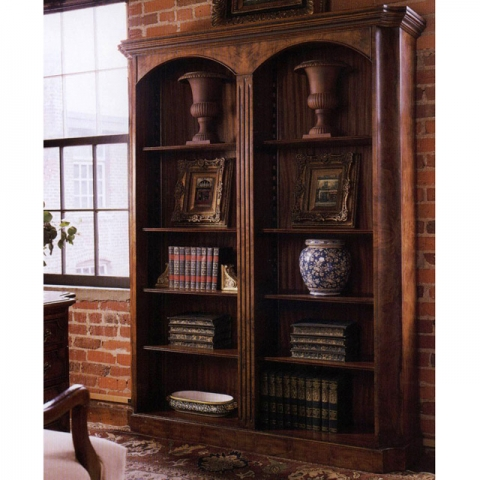 Walnut Double Arched Bookcase