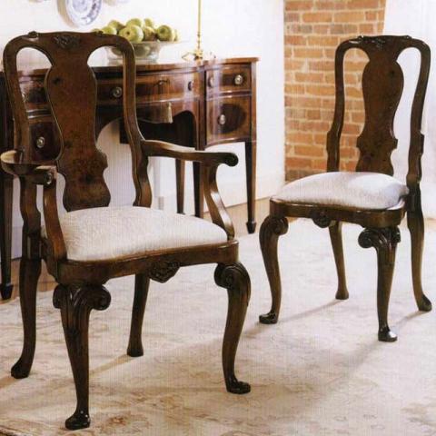 Walnut Queen Anne Side Chair Arms