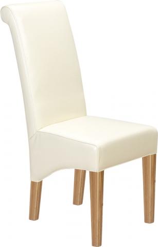 Cuba Oak Leather Chair Beige