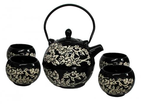 Chinese Black Round Teapot Set