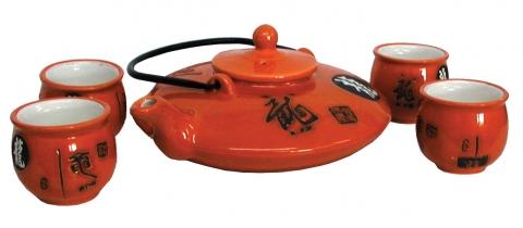 Chinese Orange Gloss Teapot Set