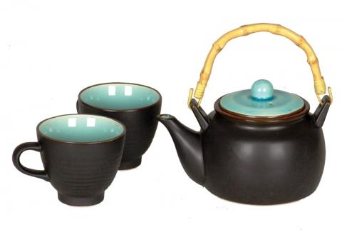 Chinese Matt Black Teapot Set