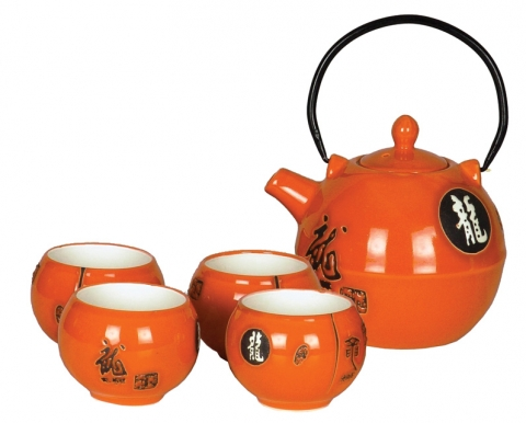 Chinese Orange Dragon Teaset