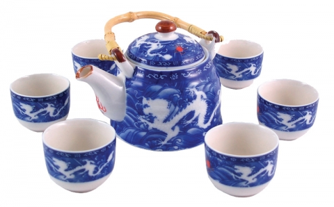 Chinese Double Dragon Tea Set