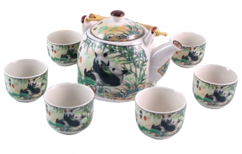 Chinese Pandas Teapot Set