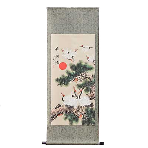 Chinese Scroll Depicting Cranes