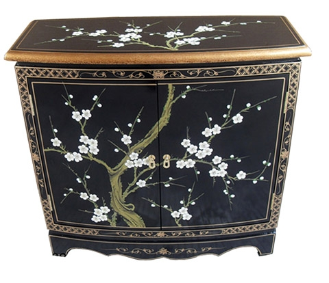 Chinese Blossom Curved Cabinet
