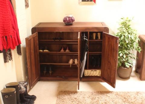 Shiro Walnut Shoe Cupboard