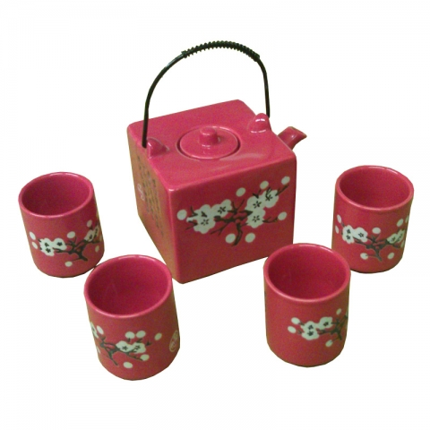 Chinese Red Square Cherry Teaset