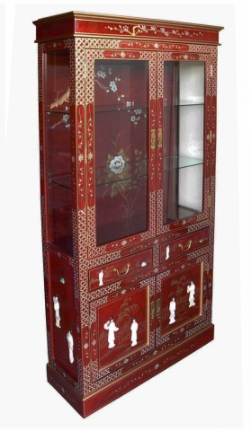Chinese Red Lacquer Cabinet Glazed