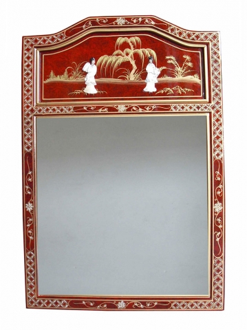 Chinese Red Lacquer Mirror