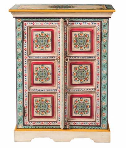 Indian Painted Turquoise Cabinet