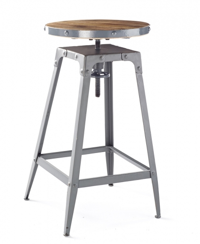 Industria Grey Wood Bar Stool
