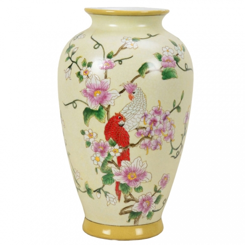 Chinese Crested Parrot Vase