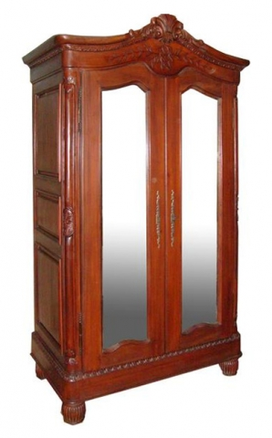 Mahogany Elegance Mirrored Armoire