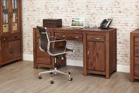 Mayan Walnut Twin Pedestal Desk
