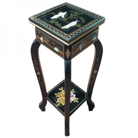 Chinese Black Lacquer Plant Stand