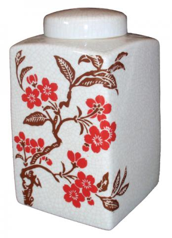 Square Floral Chinese Pot