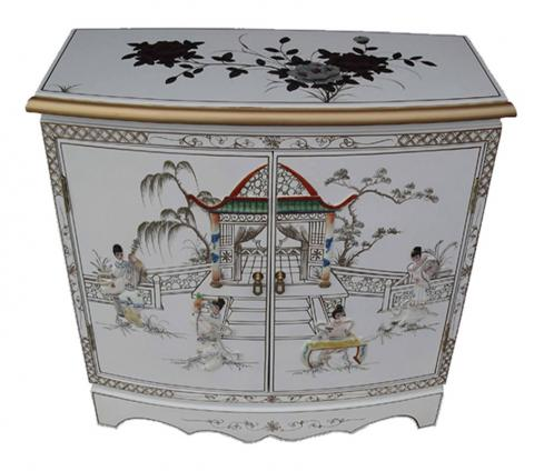 White Lacquer Cabinet Bow