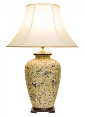 Chinese Table Lamp Blossoms (Pair)
