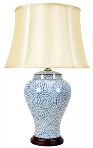 Chinese Table Lamp Blue Rings (Pair)