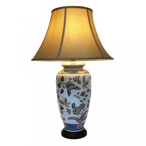 Chinese Table Lamp Gold Flora (Pair)