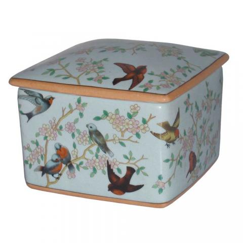 Chinese Birds Square Pot