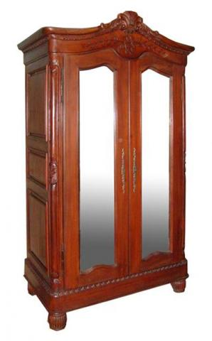 Mahogany Elegance Mirrored Armoire