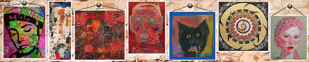 Asian art image banner collage