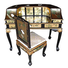 Chinese Gold Leaf Black Lacquer Furniture