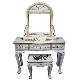 Chinese Gold Leaf White Lacquer Furniture