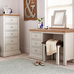 Rosa white painted dressing table & chest in roomset