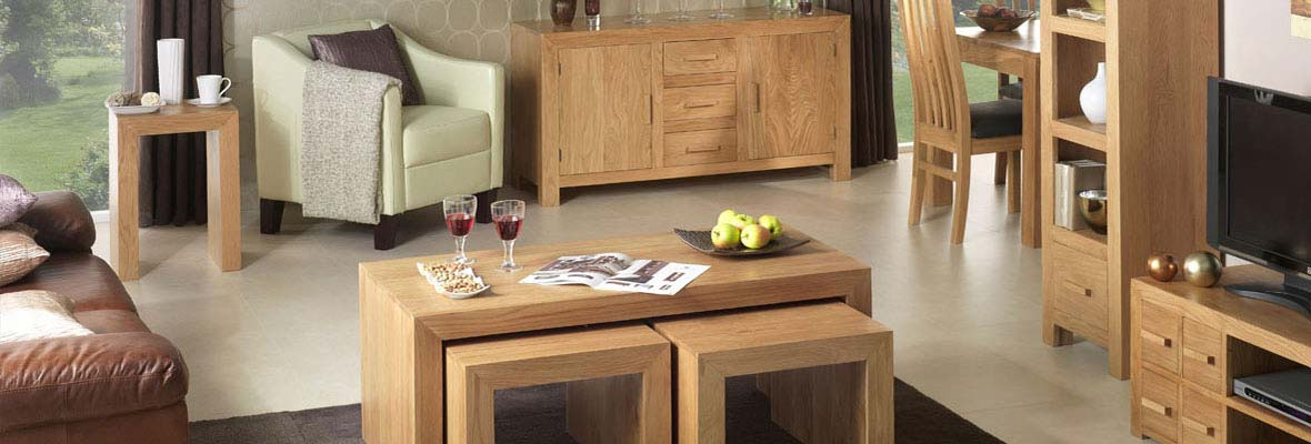 Cuba Cube Oak Living Room Furniture