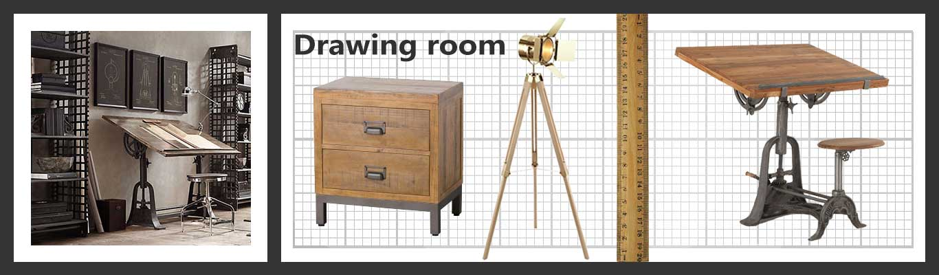 Old style drawing office furniture pieces